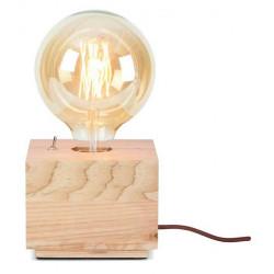 Lampe cube bois naturel
