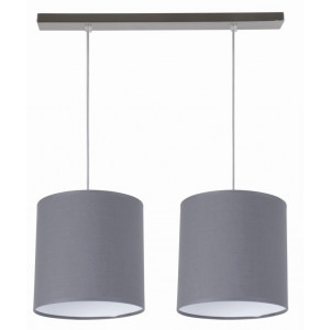 Suspension 2 abats-jour ronds gris ardoise