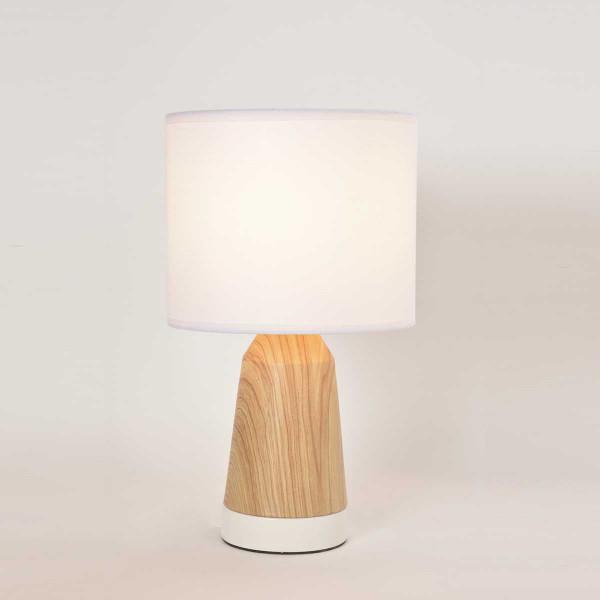 Lampe Tactile Blanche Et Bois