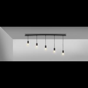 Suspension ronde noire Fitu en aluminium