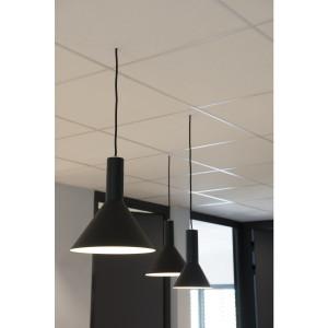 Suspension conique Phelia noire en aluminium Ø 13 cm