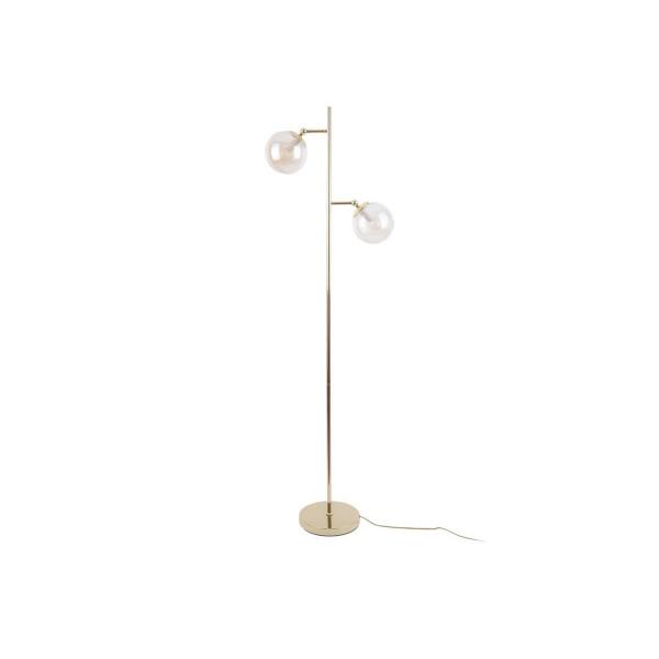 Lampadaire 2 diffuseurs laiton et verre Shimmer - H 152cm