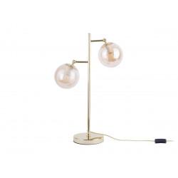 Lampe de table 2 diffuseurs laiton et verre ambre Shimmer - H 152cm
