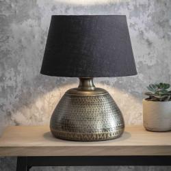 Lampe de table en laiton martelé bleu-noir H48cm