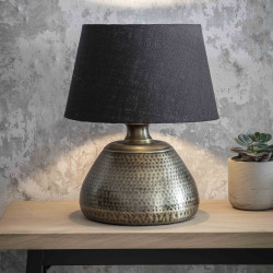 Lampe de table en laiton martelé bleu-noir H63cm