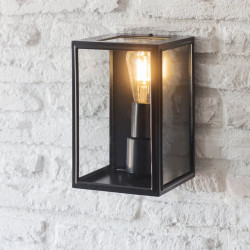 Lanterne scandinave acier noir et verre H26 - IP44