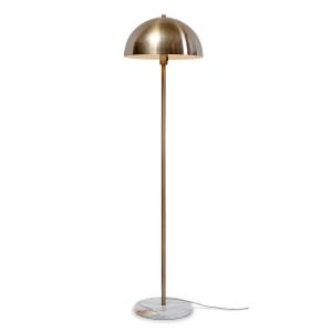 Lampadaire en métal doré et pied en marbre blanc