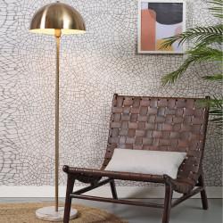 Lampadaire métal doré et base en marbre