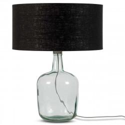 Lampe de table en verre et lin noir