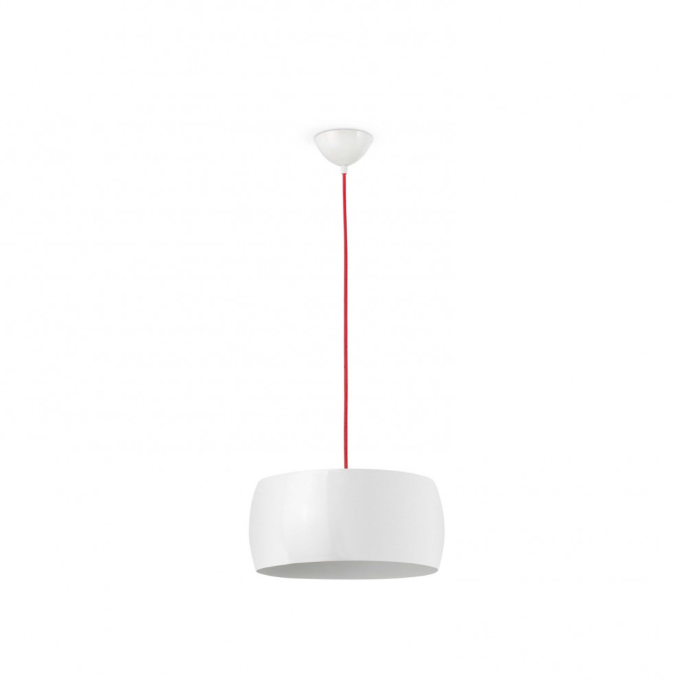 Suspension design blanche cylindrique sur lampe avenue for Suspension blanche design
