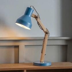 Lampe de bureau bleue et bois