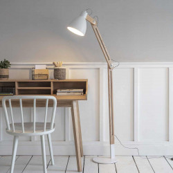 Lampadaire bois et métal blanc