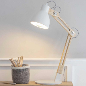 Lampe blanche et bois