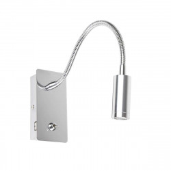Applique liseuse flexible chromée avec port USB