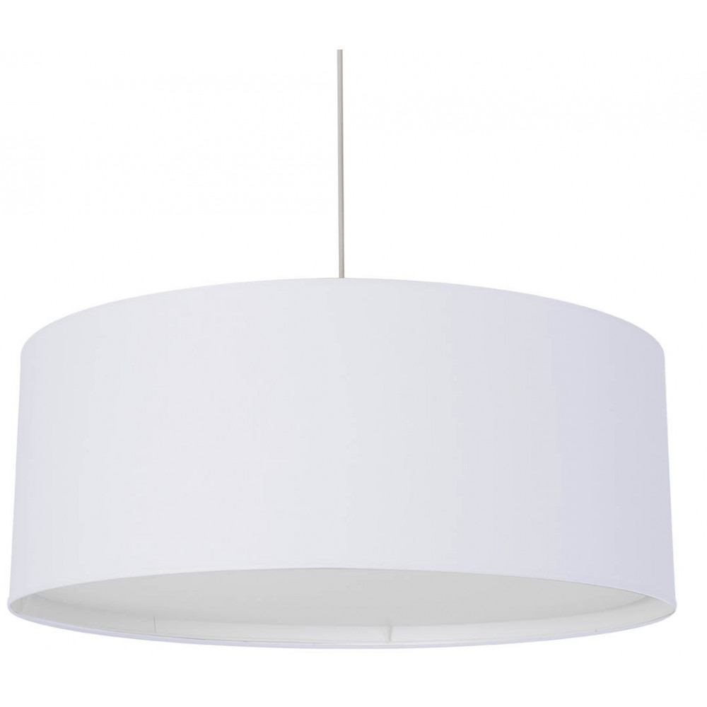 Grande suspension cylindre blanche avec diffuseur sur for Lampe suspension blanche