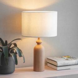 Lampe en bois tourné et abat-jour blanc