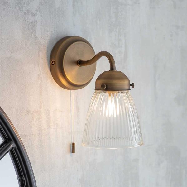 Contemporain Gris Cordon et gris brillant poignée Salle De Bain Lumière Tirette ficelle