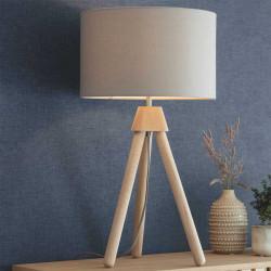 Lampe trépied chêne abat-jour taupe