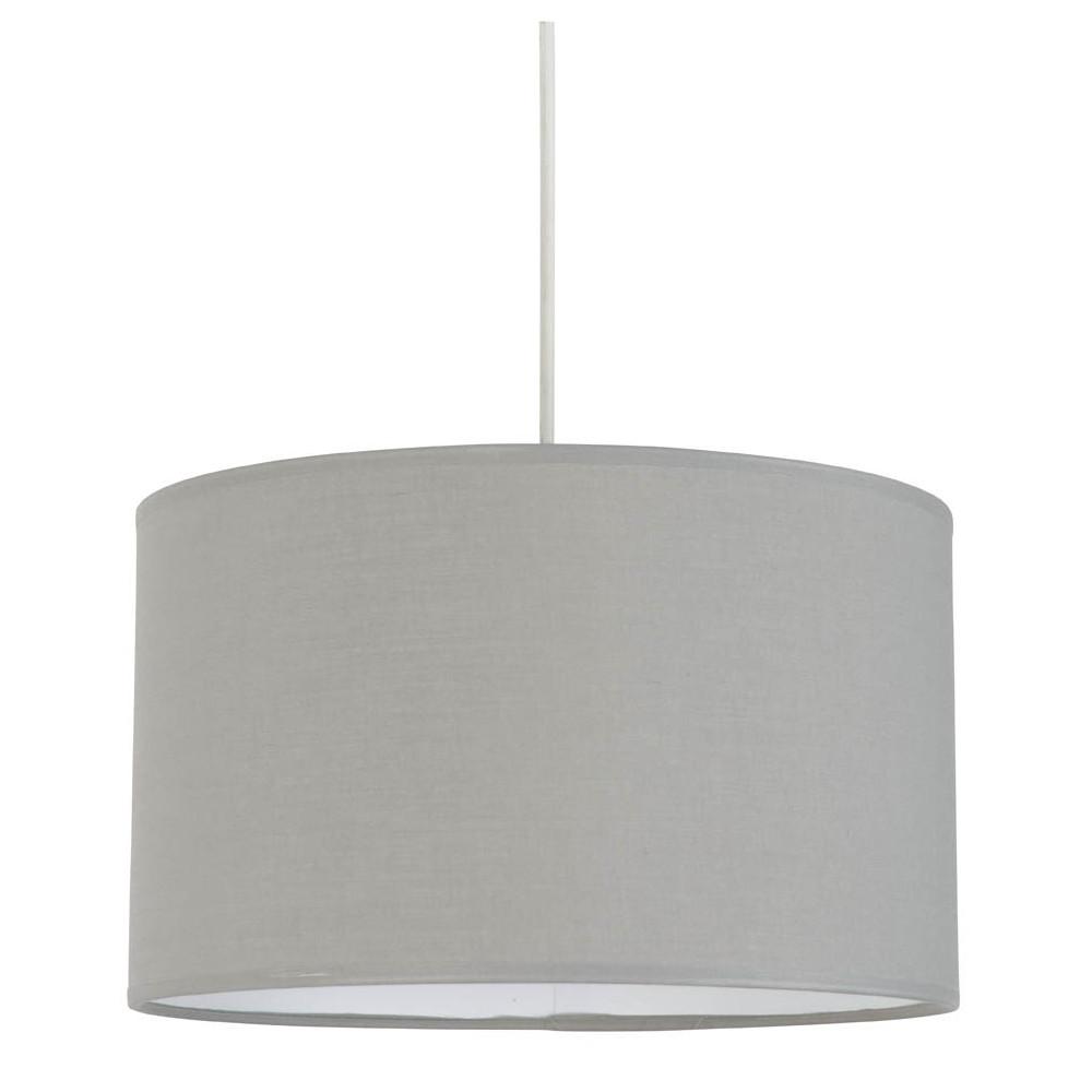 Suspension abat jour gris clair en coton sur lampe avenue for Suspension luminaire gris