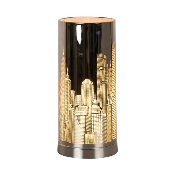 Lampe tactile new york argent e cylindrique en vente sur for Conforama lampe de chevet