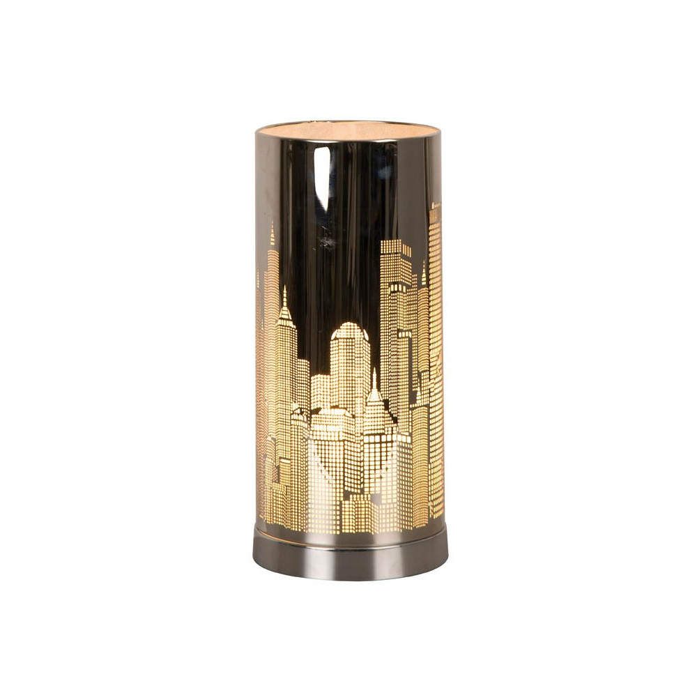 Lampe tactile new york argent e cylindrique en vente sur for Lampe de chevet tactile enfant