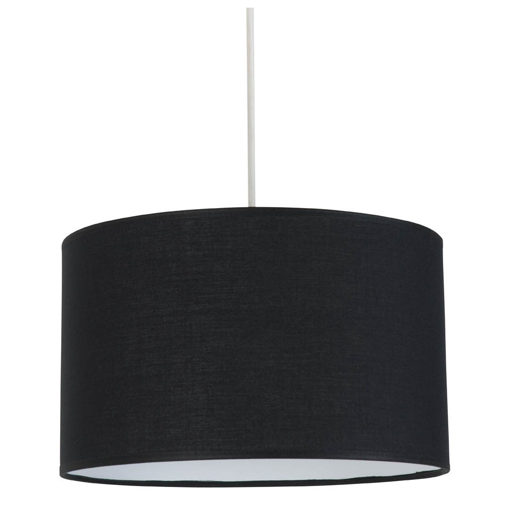 Suspension cylindrique abat jour noir en vente sur lampe for Luminaire suspension salon
