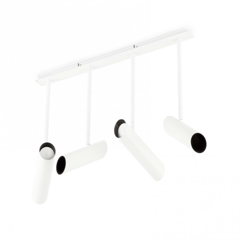 Plafonnier design 4 spots blancs suspendus vente sur for Plafonnier suspendu design
