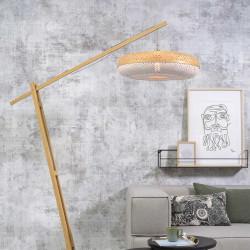 Grand lampadaire en bambou blanc - 60 cm