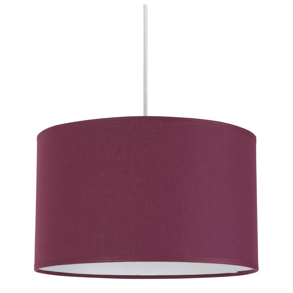 Suspension abat jour cylindre couleur prune lampe avenue for Luminaire abat jour suspension