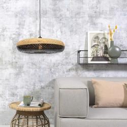 Luminaire en bambou de forme ronde noire et naturelle