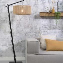 Lampadaire bois et fibre naturelle