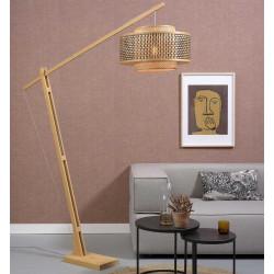 Grand lampadaire bambou tressé
