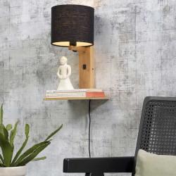 Lampe étagère bois