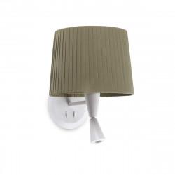 Lampe applique murale blanche avec liseuse et abat-jour plissé vert kaki