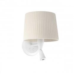 Lampe applique murale blanche avec liseuse et abat-jour plissé beige