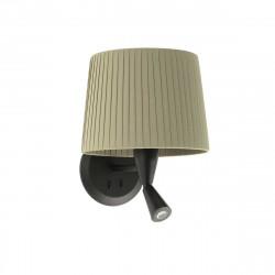 Lampe applique murale noire avec liseuse et abat-jour plissé vert kaki