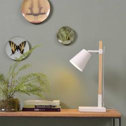 Lampe de bureau scandinave bois et blanche