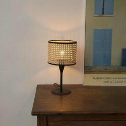 Mini lampe noire et cannage