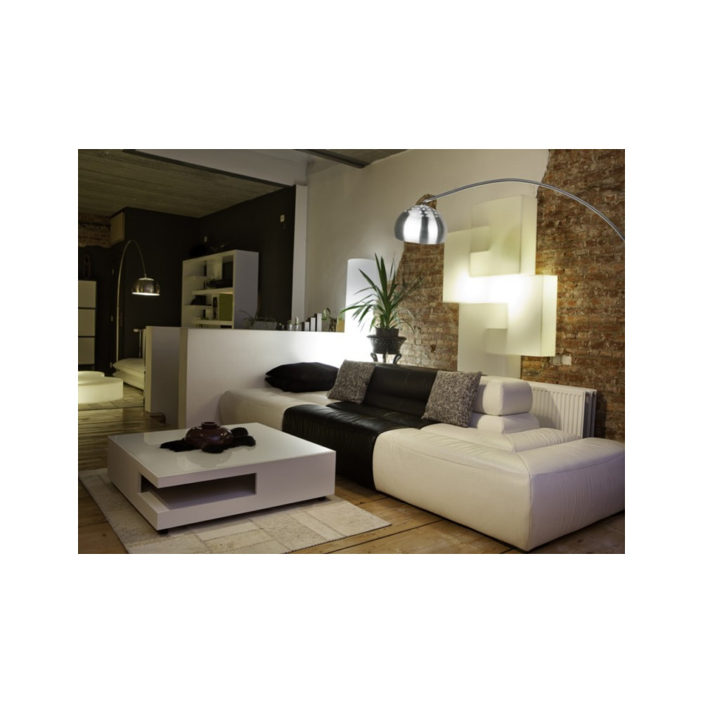 Grand lampadaire arc design socle marbre noir sur lampe avenue for Lampadaire salon