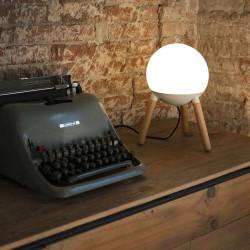 Lampe en bois et verre blanc