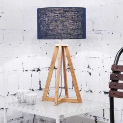 Lampe à poser abat-jour lin bleu