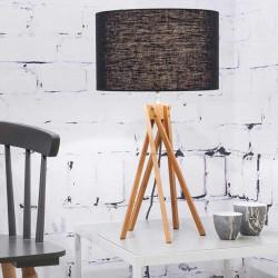 Lampe design lin et bois noir
