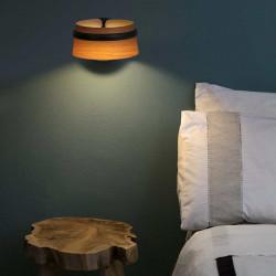 Lampe bois applique noire