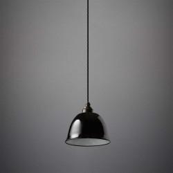 Suspension cloche émaillée noire fil noir