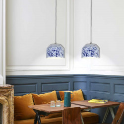 Suspension céramique brillante bleu indigo et blanc