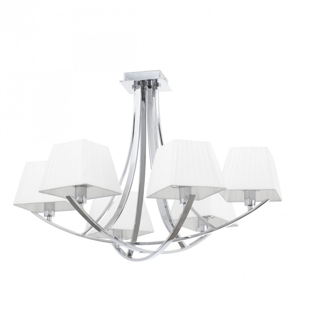 Lustre chrom avec 4 ou 6 abats jour blancs sur lampe avenue for Lustre ou suspension