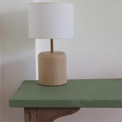 Lampe à poser en bois de hêtre et abat-jour blanc