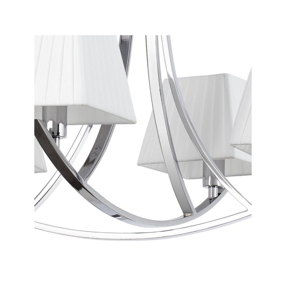 Lustre chrom avec 4 ou 6 abats jour blancs sur lampe avenue for Lustre exterieur design