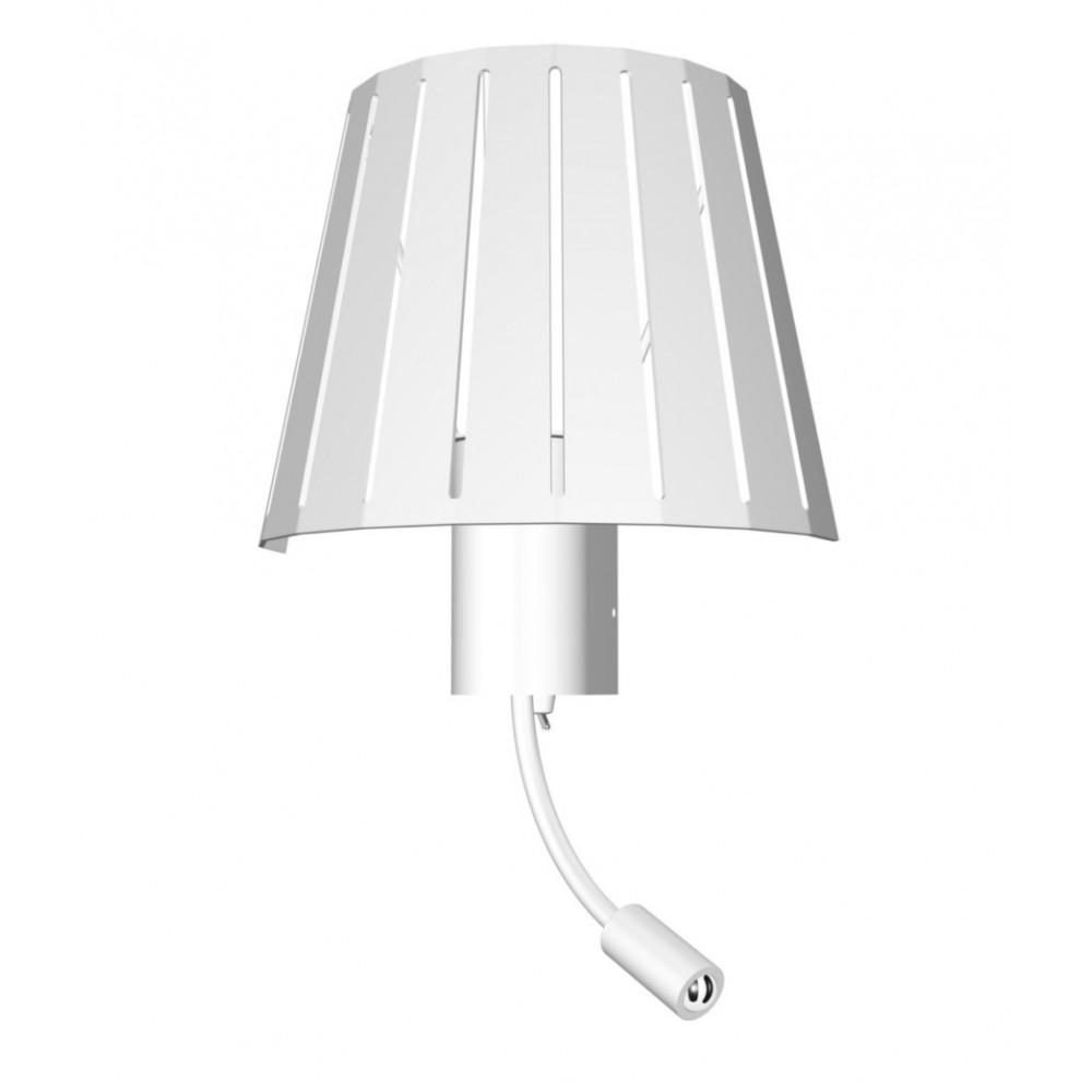 lampe chevet m tal blanc avec liseuse pour h tel lampe avenue. Black Bedroom Furniture Sets. Home Design Ideas