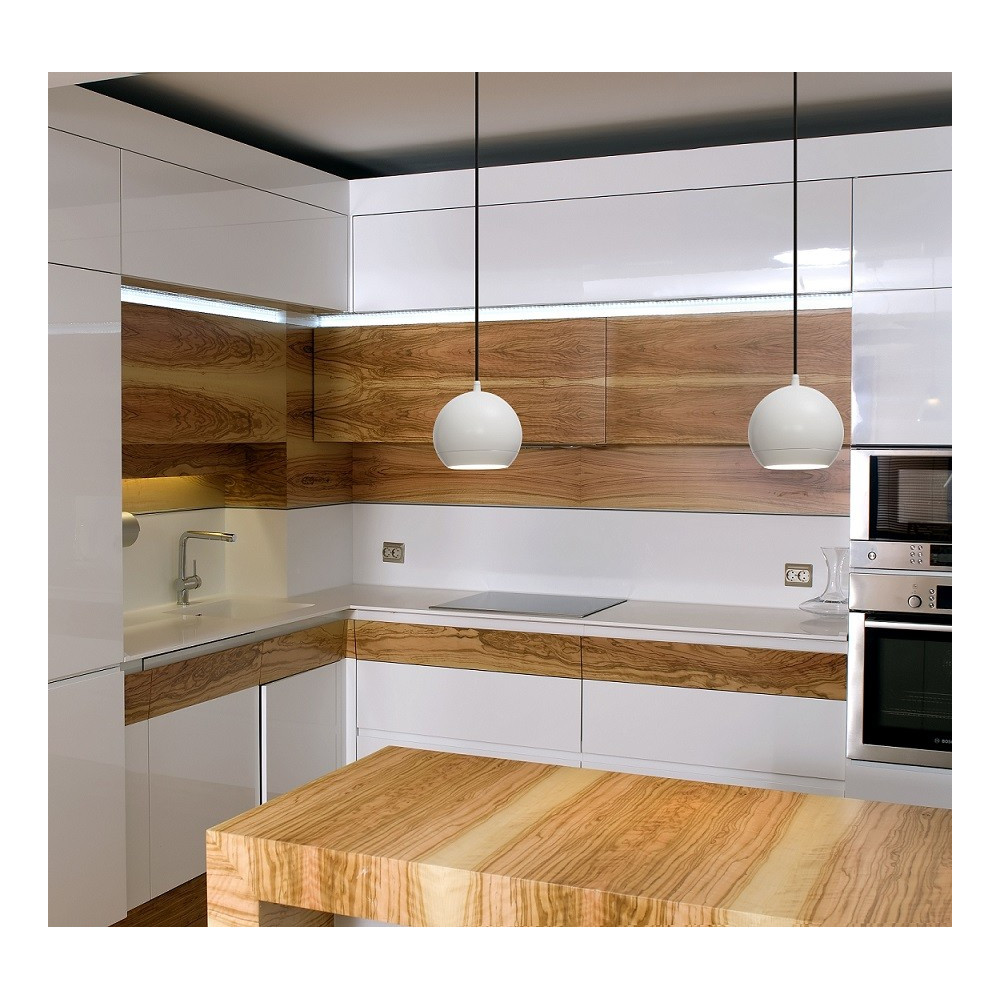 Suspension ronde blanche led pour bar ou cuisine for Luminaire cuisine suspension